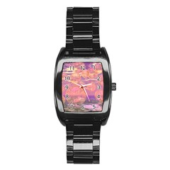 Glorious Skies, Abstract Pink And Yellow Dream Stainless Steel Barrel Watch
