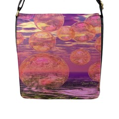 Glorious Skies, Abstract Pink And Yellow Dream Flap Closure Messenger Bag (Large)