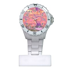 Glorious Skies, Abstract Pink And Yellow Dream Nurses Watch