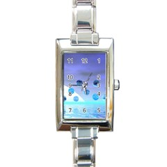 Moonlight Wonder, Abstract Journey To The Unknown Rectangular Italian Charm Watch