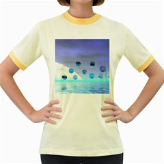Moonlight Wonder, Abstract Journey To The Unknown Women s Ringer T-shirt (Colored)
