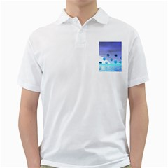 Moonlight Wonder, Abstract Journey To The Unknown Men s Polo Shirt (White)