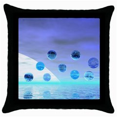 Moonlight Wonder, Abstract Journey To The Unknown Black Throw Pillow Case