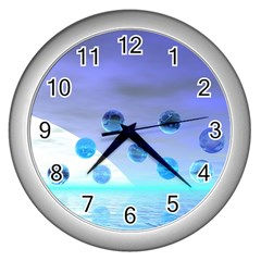 Moonlight Wonder, Abstract Journey To The Unknown Wall Clock (Silver)