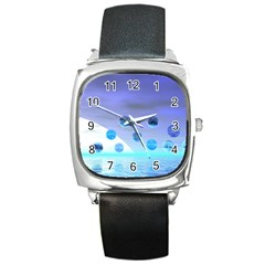 Moonlight Wonder, Abstract Journey To The Unknown Square Leather Watch