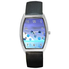 Moonlight Wonder, Abstract Journey To The Unknown Tonneau Leather Watch