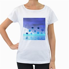 Moonlight Wonder, Abstract Journey To The Unknown Women s Loose-Fit T-Shirt (White)
