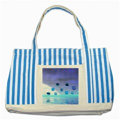 Moonlight Wonder, Abstract Journey To The Unknown Blue Striped Tote Bag