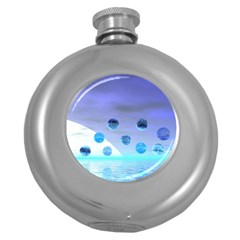 Moonlight Wonder, Abstract Journey To The Unknown Hip Flask (Round)