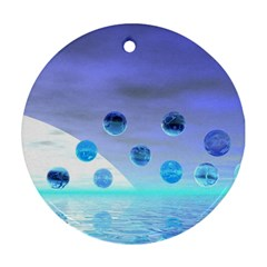 Moonlight Wonder, Abstract Journey To The Unknown Round Ornament (Two Sides)