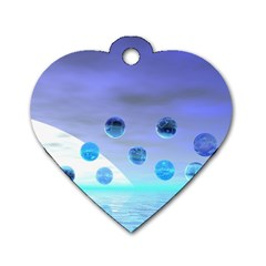 Moonlight Wonder, Abstract Journey To The Unknown Dog Tag Heart (one Sided)
