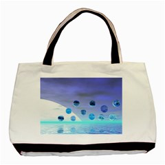 Moonlight Wonder, Abstract Journey To The Unknown Twin-sided Black Tote Bag