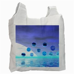 Moonlight Wonder, Abstract Journey To The Unknown White Reusable Bag (Two Sides)
