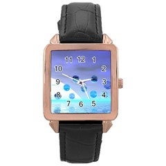 Moonlight Wonder, Abstract Journey To The Unknown Rose Gold Leather Watch
