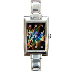 Aurora Ribbons, Abstract Rainbow Veils  Rectangular Italian Charm Watch