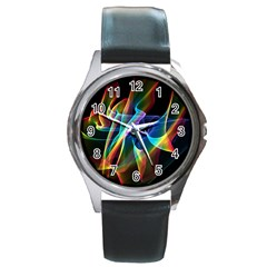 Aurora Ribbons, Abstract Rainbow Veils  Round Leather Watch (Silver Rim)