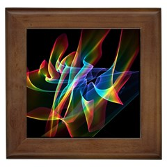 Aurora Ribbons, Abstract Rainbow Veils  Framed Ceramic Tile