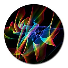 Aurora Ribbons, Abstract Rainbow Veils  8  Mouse Pad (Round)