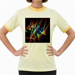 Aurora Ribbons, Abstract Rainbow Veils  Women s Ringer T-shirt (Colored)