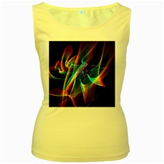 Aurora Ribbons, Abstract Rainbow Veils  Women s Tank Top (yellow)