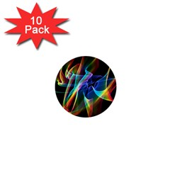 Aurora Ribbons, Abstract Rainbow Veils  1  Mini Button (10 pack)