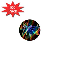 Aurora Ribbons, Abstract Rainbow Veils  1  Mini Button Magnet (100 pack)