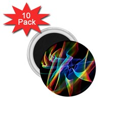 Aurora Ribbons, Abstract Rainbow Veils  1 75  Button Magnet (10 Pack)