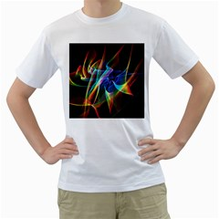 Aurora Ribbons, Abstract Rainbow Veils  Men s Two-sided T-shirt (White)