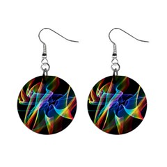 Aurora Ribbons, Abstract Rainbow Veils  Mini Button Earrings