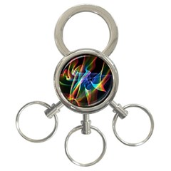 Aurora Ribbons, Abstract Rainbow Veils  3 Ring Key Chain