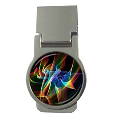 Aurora Ribbons, Abstract Rainbow Veils  Money Clip (Round)