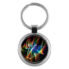 Aurora Ribbons, Abstract Rainbow Veils  Key Chain (Round)