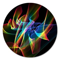 Aurora Ribbons, Abstract Rainbow Veils  Magnet 5  (Round)