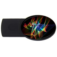 Aurora Ribbons, Abstract Rainbow Veils  2GB USB Flash Drive (Oval)