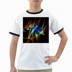Aurora Ribbons, Abstract Rainbow Veils  Men s Ringer T Shirt