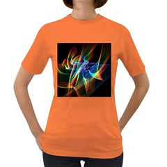 Aurora Ribbons, Abstract Rainbow Veils  Women s T-shirt (Colored)