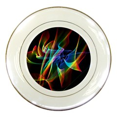 Aurora Ribbons, Abstract Rainbow Veils  Porcelain Display Plate