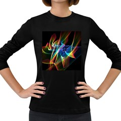 Aurora Ribbons, Abstract Rainbow Veils  Women s Long Sleeve T-shirt (Dark Colored)