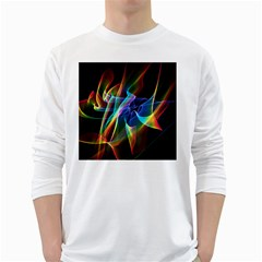 Aurora Ribbons, Abstract Rainbow Veils  Men s Long Sleeve T Shirt (white)