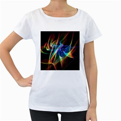 Aurora Ribbons, Abstract Rainbow Veils  Women s Loose Fit T Shirt (white)