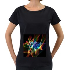 Aurora Ribbons, Abstract Rainbow Veils  Women s Loose-Fit T-Shirt (Black)
