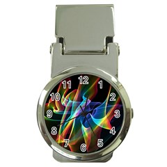 Aurora Ribbons, Abstract Rainbow Veils  Money Clip with Watch