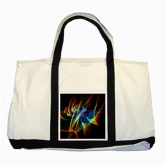 Aurora Ribbons, Abstract Rainbow Veils  Two Toned Tote Bag