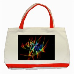 Aurora Ribbons, Abstract Rainbow Veils  Classic Tote Bag (red)