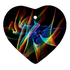 Aurora Ribbons, Abstract Rainbow Veils  Heart Ornament (Two Sides)