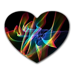 Aurora Ribbons, Abstract Rainbow Veils  Mouse Pad (Heart)