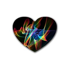 Aurora Ribbons, Abstract Rainbow Veils  Drink Coasters 4 Pack (heart)