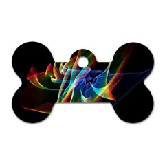Aurora Ribbons, Abstract Rainbow Veils  Dog Tag Bone (One Sided)