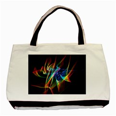 Aurora Ribbons, Abstract Rainbow Veils  Twin Sided Black Tote Bag