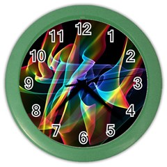 Aurora Ribbons, Abstract Rainbow Veils  Wall Clock (Color)